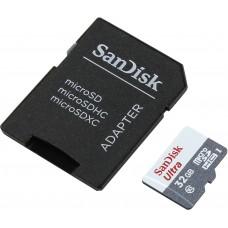 Карта памяти MicroSDHC 32GB Sandisk Class 10 Ultra Android UHS-I 80 Mb/s с адаптером (SDSQUNS-032G-GN3MA)