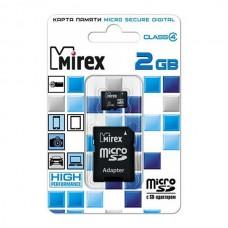 Карта памяти MicroSD 2GB Mirex Class 4 с адаптером (13613-ADTMSD02)