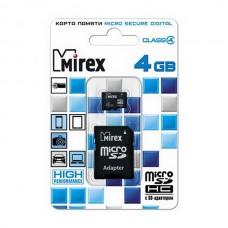 Карта памяти MicroSD 4GB Mirex Class 4 с адаптером (13613-ADTMSD04)
