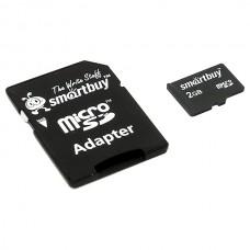 Карта памяти MicroSD 2GB SmartBuy с адаптером (SB2GBSD-01)