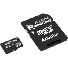 Карта памяти 4GB Smartbuy MicroSDHC Class 10 + SD адаптер (SB4GBSDCL10-01)