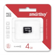 Карта памяти MicroSD 4GB SmartBuy Class 4 (SB4GBSDCL4-00)
