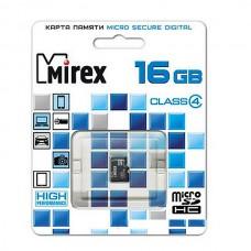 Карта памяти MicroSD 16GB MIREX Class 4 (13612-MCROSD16)