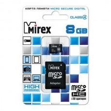 Карта памяти MicroSD 8GB  MIREX Class 4 c адаптером (13613-ADTMSD08)