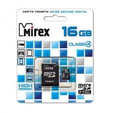 Карта памяти MicroSD 16GB MIREX Class 4 c адаптером (13613-ADTMSD16)