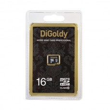 Карта памяти MicroSD 16GB DiGoldy Class 10 (DG0016GCSDHC10-W/A-AD)