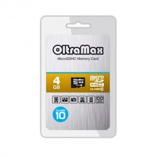 Карта памяти MicroSD 4GB OltraMax Class 10 (OM004GCSDHC10-W/A-AD)