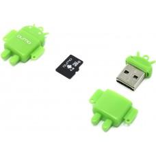 Карта памяти MicroSD 4GB Qumo Class 10 + USB картридер зеленый (QM4GCR-MSD10-FD-GRN)