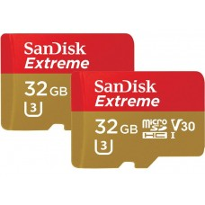 Карта памяти MicroSD 32GB SanDisk Class 10 Extreme Sports Cameras UHS-I A1 U3 с адаптером (SDSQXAF-032G-GN6AT)