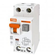 Выключатель автоматический TDM дифференциального тока двухполюсный АВДТ 63 C16 30мА