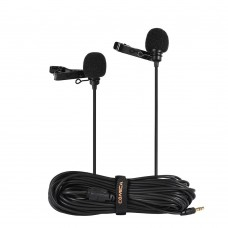 Петличный микрофон Comica CVM-D02B двухголовый