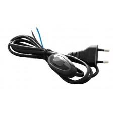Шнур с плоской вилкой и выключателем Smartbuy 1.7 м черный