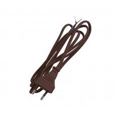 Шнур с плоской вилкой TDM коричневый 1.7м