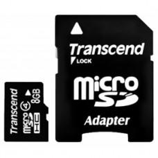 Флеш карта 8GB Transcend microSDHC Class 4 (SD адаптер)(TS8GUSDHC4)