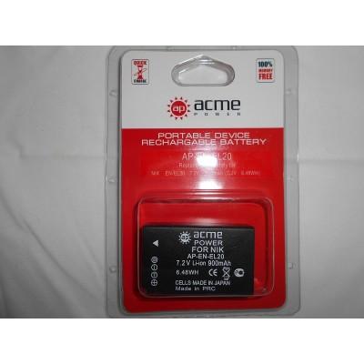 Аккумулятор AcmePower AP-EN-EL20 для Nikon 1 AW1, 1 J1, 1 J2, 1 J3, 1 S1, COOLPIX A, Blackmagic Pocket Cinema Camera