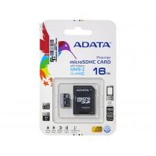 Карта памяти ADATA Premier microSDHC Class 10 UHS-I U1 16GB + SD adapter (AUSDH16GUICL10-RA1)