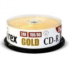 Диск CD-R Mirex 700 Mb, 24х, Gold, Cake Box 25 (UL120054A8M)
