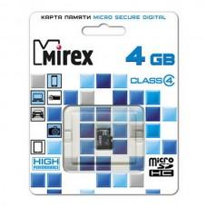 Флеш карта microSD 4GB Mirex microSDHC Class 4 (13612-MCROSD04)
