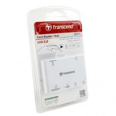 Картридер Transcend RDP7, all-in-1 + 3 USB порта, USB 2.0, Белый (TS-RDP7W)