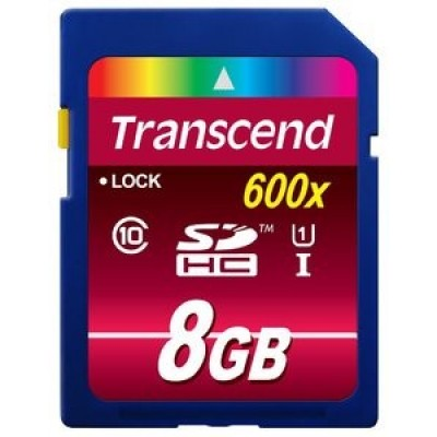 Карта памяти 8GB  Transcend SDHC class 10 600x UHS-I (Ultimate) TS8GSDHC10U1