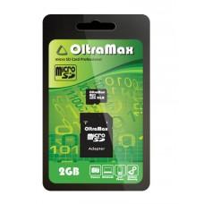 Карта памяти Micro SD 2GB OltraMax + SD адаптер (OM002GCSD-AD)
