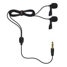 Петличный микрофон Comica CVM-D02B двухголовый 6м