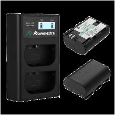 Двойное зарядное устройство Powerextra LP-E6 + 2 аккумулятора