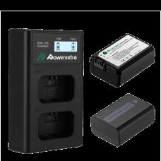 Двойное зарядное устройство Powerextra NP-FW50 + 2 аккумулятора