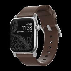 Ремешок кожаный Nomad Modern для Apple Watch 42/44 мм Коричневый с серебряной фурнитурой