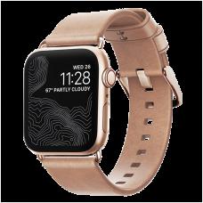 Ремешок Nomad Modern Slim для Apple Watch 38/40 мм Бежевый с золотой фурнитурой