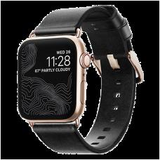 Ремешок Nomad Modern Slim для Apple Watch 38/40 мм Чёрный с золотой фурнитурой