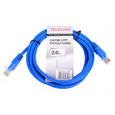 Патч-корд Telecom UTP 5E 2m литой синий (NA102-L-2M_317536)