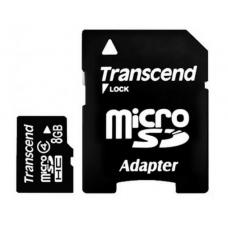 Карта памяти 8GB Transcend MicroSDHC Class 4 + SD адаптер (TS8GUSDHC4)