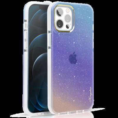 Чехол Kingxbar Ombre для iPhone 12/12 Pro Синий/Фиолетовый